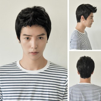 OEM Aircraft Wig Handsome Student Korean Men and Boys Short Hair Wig Black