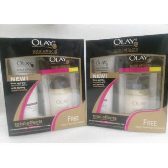 Olay Total Effects 7-in-1 Anti-Ageing Cream Normal SPF 15 50g andOlay Total Effects 7-in-1 Foaming Cleanser set of 2