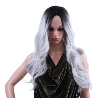 Ombre Long Black Mixed Grey Wigs Heat Resistant Synthetic Hair for Women - intl