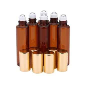 ooplm 10ml(1/3 Oz) Amber Glass Roll-on Bottles With Stainless Steel Roller Ball For Essential Oil,Aromatherapy,Perfumes And Lip Balms,Set Of 6