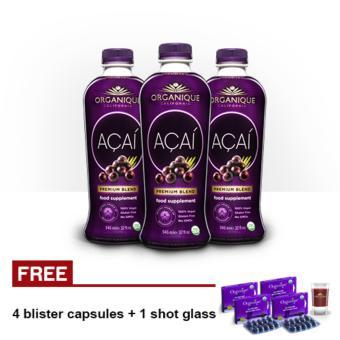 Organique Acai Premium Blend Juice Supplement 946ml Set of 3