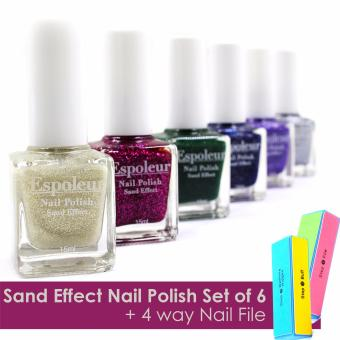 Pop Art Sand Effect Nail Polish Set of 6 with 4 -way Nail File
