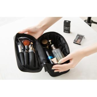 Portable Cosmetic Bag Cosmetic Organizer (All Black)