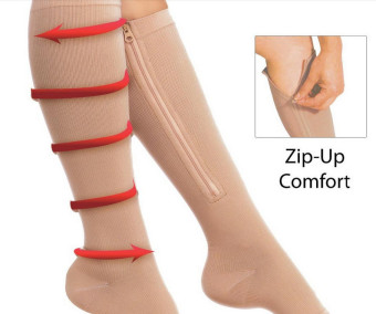 Preventing Varicose Veins Stretch Skinny Leg Compression Stockings with Zip -Khaki - intl
