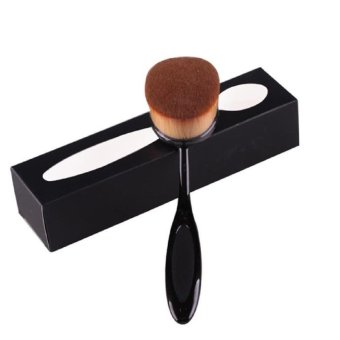 Pro Cosmetic Makeup Face Powder Blusher Toothbrush Curve Foundation Brush(Black)