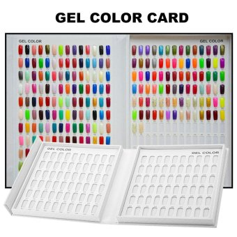 Professional 120 Colors White Nail Gel Polish Display Chart with Tips Nail Polish Color Card Chart Nail Art Salon Set - intl