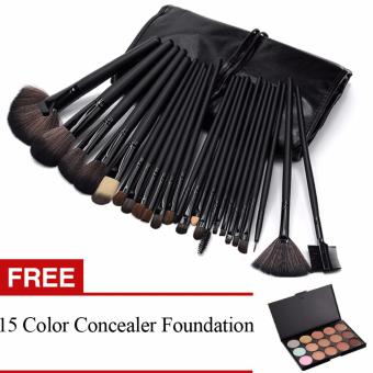 Professional 24Pcs Cosmetic Makeup Make Up Brush Brushes Set KitTools + Professional 15 Colors Makeup Face Cream Concealer Palettewith Super Soft Pouch Bag Case - intl
