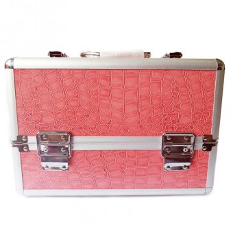 Professional Aluminum Makeup Case (Pink Crocodile Grain)