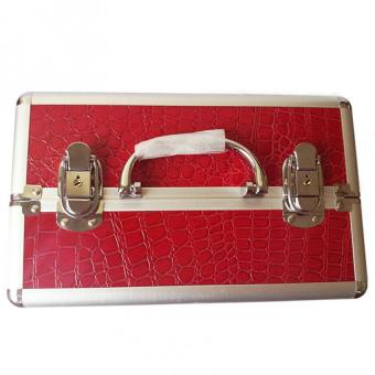 Professional Aluminum Makeup Case (Red Crocodile Grain) - 2