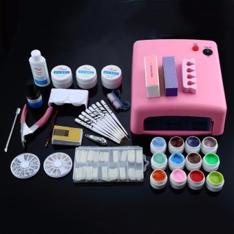Professional Nail Dryer 36w Uv Dryer Lamp + 12 Colors Acrylic Powder Nail Art Kit Gel Tools Full Set (US Plug) - intl