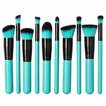 Professional Soft Make Up Brush Set of 10 (Kabuki-Black/Blue)