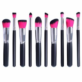 Professional Soft Make Up Brush Set of 10 (Kabuki-Black/Pink)