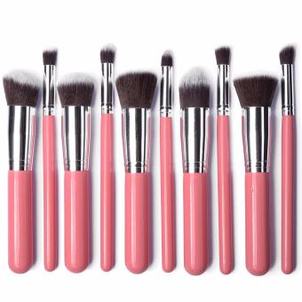 Professional Soft Make Up Brush Set of 10 (Kabuki-Pink/Silver)
