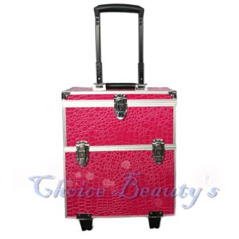 Professional Trolley Aluminum Makeup Case (Rose Red)