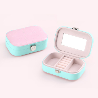 PU Leather Jewelry Storage Box Case Organizer Make-up Mirror Cyan - 3