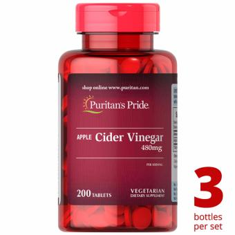 Puritan's Pride Apple Cider Vinegar 480mg 200 tablets Set of 3 Bottles