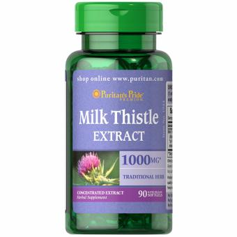 Puritan's Pride Milk Thistle Silymarin 4:1 Extract 1000mg 90 softgels Set of 1 Bottle