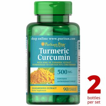 Puritan's Pride Turmeric Curcumin 500mg 90 capsules Set of 2 Bottles