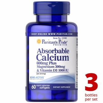 Puritan's Pride Calcium 600mg + Magnesium 300mg Vitamin D3 1000iu60 softgels Set of 3 Bottles