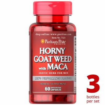 Puritan's Pride Horny Goat Weed Maca 500mg 60 capsules Set of 3Bottles