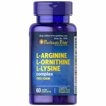 Puritan's Pride L-Arginine L-Ornithine L-Lysine 60 caplets Set of 1Bottle
