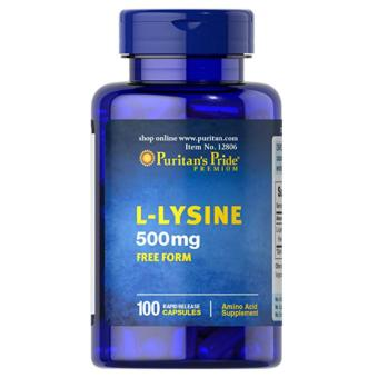 Puritan's Pride L-Lysine Amino Acid 500mg Free Form formuscle-building and recovery 100 Vegan Caplets