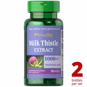 Puritan's Pride Milk Thistle Silymarin 4:1 Extract 1000mg 90softgels Set of 2 Bottles