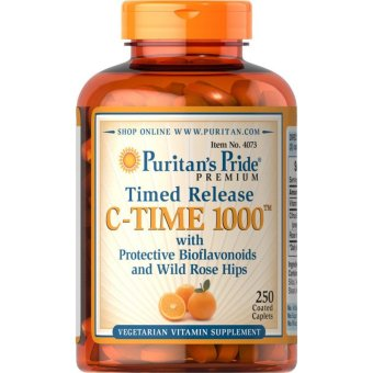 Puritan's Pride Vitamin C-1000mg Timed Release with Bioflavonoidsand Wild Rose Hips, 250 Caplets