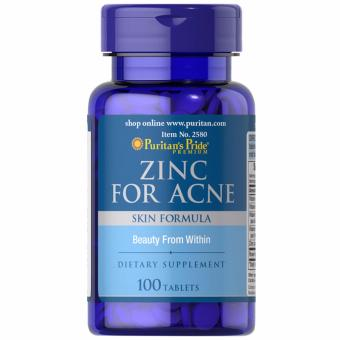 Puritan's Pride Zinc for Acne 100 tabs Set of 1 Bottle