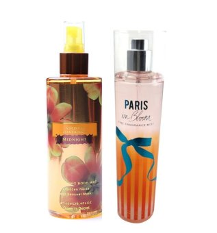 Queen's Secret Amber Romance Midnight Body Mist 250ml with Queen's Secret Paris in Bloom Fine Fragrance Mist 236ml Bundle