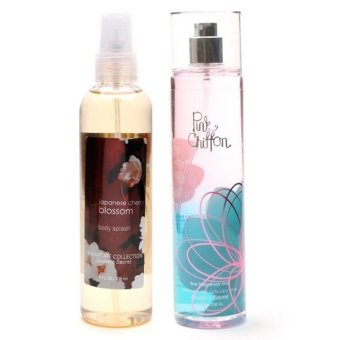 Queen's Secret Japanese Cherry Blossom Body Splash 236ml with Queen's Secret Pink Chiffon Fine Fragrance Mist for Women 236ml Bundle