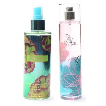 Queen's Secret Pear Glace Body Mist for Women 250ml with Queen's Secret Pink Chiffon Fine Fragrance Mist for Women 236ml Bundle