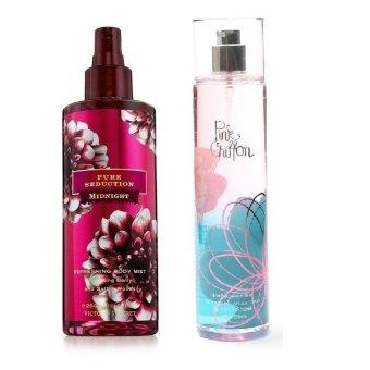 Queen's Secret Pure Seduction Midnight Body Mist for Women 250ml with Queen's Secret Pink Chiffon Fine Fragrance Mist for Women 236ml Bundle