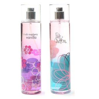 Queen's Secret Raspberry Vanilla Fine Fragrance Mist for Women 236ml with Queen's Secret Pink Chiffon Fine Fragrance Mist for Women 236ml Bundle