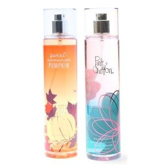 Queen's Secret Sweet Cinnamon Pumpkin Fine Fragrance Mist for Women 236ml with Queen's Secret Pink Chiffon Fine Fragrance Mist for Women 236ml Bundle