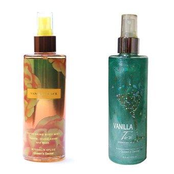Queen's Secret Vanila Lace Body Mist 250ml and Queen's Secret Vanilla Tini Shimmer Mist 236ml Bundle