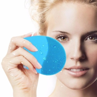 Rechargeable Waterproof Vibrating Facial Cleansing Brush (Blue) - 2