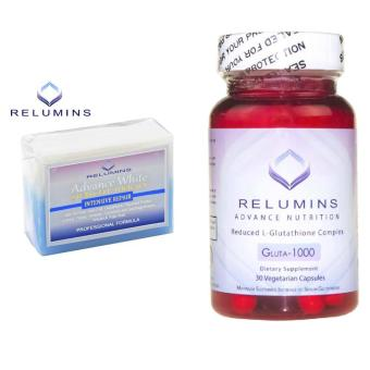 Relumins Advance White Gluta 1000 Reduced L-Glutathione 30Vegetarian Capsules with TA Stem Cell Soap