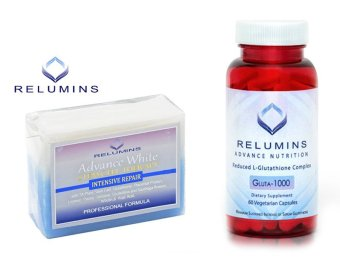 Relumins Advance White Gluta 1000 Reduced L-Glutathione 60Vegetarian Capsules with TA Stem Cell Soap