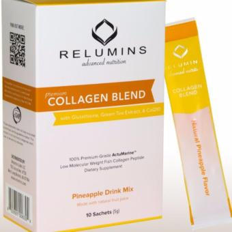 RELUMINS PREMIUM COLLAGEN BLEND - WITH GLUTATHIONE, GREEN TEAEXTRACT AND COQ10 - PINEAPPLE FLAVOR