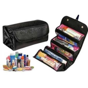 Roll-N-Go Cosmetic Bag (Black) for Make Up Toiletry Travel Bag