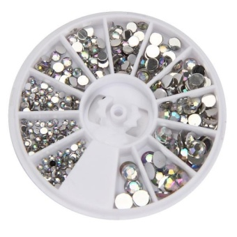 Round 3D Acrylic Nail Art Gems Crystal Rhinestones DIY Decoration Wheel - intl