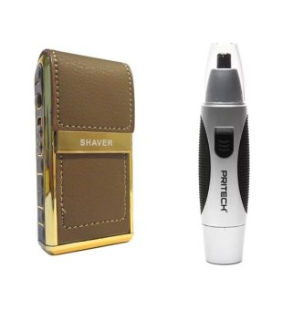 RSCW-V1 Boteng Shaver (Brown) With Pritech TN-42NE Fashionable MiniNose Hair Trimmer