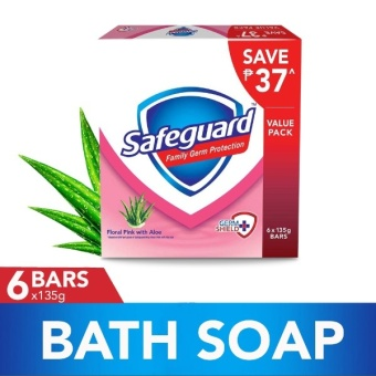 Safeguard(TM) Floral Pink with Aloe Bar Soap 135g - 6 Packs