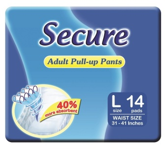 Secure Adult Pull-Up Pants- Large 14 x 6
