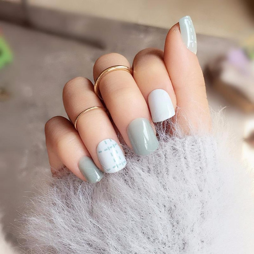 Simple fine line 24PCS/set short paragraph finished fake nails,Be ...