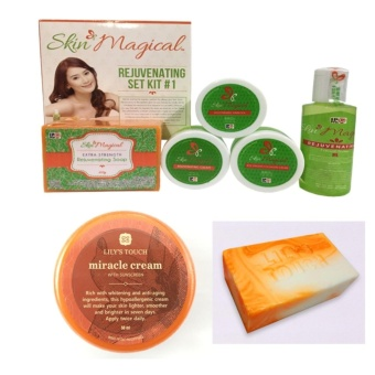 Skin Magical Rejuvenating Kit #1, Miracle Cream 50ml and Miracle Soap 90g Bundle with with FREE 1 Sachet of GLUTA LIPO Whitening and Slimming Juice