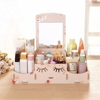 Smiley Face Wooden Desk Makeup Cosmetic Jewelry Organizer (LoveFloral Pink) Price Philippines