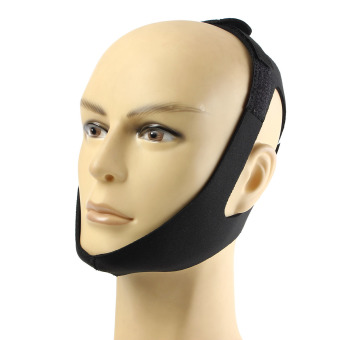 Stop Snoring Chin Strap Anti Snore Belt Apnea Jaw Support Solution Sleep Black