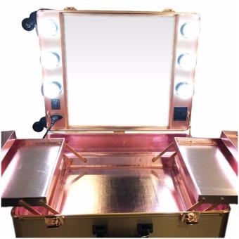 Suesh Metallic Rose Gold Vanity Makeup Station - 4